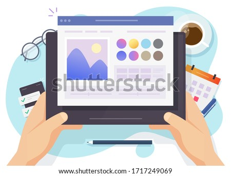 Image software photo editor online vector above designer workplace table desk and digital tablet computer screen or artist picture creating and drawing program top view desktop flat cartoon modern