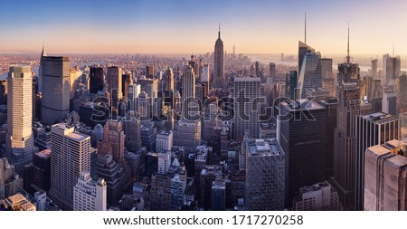 New York skyline at sunset, USA. #1717270258