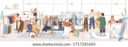 Colorful swap party concept. Women choosing trendy clothing, shoes, accessories at fair. People swapping stuff. Collaborative consumption, clothes exchange. Vector illustration in flat cartoon style. #1717285603