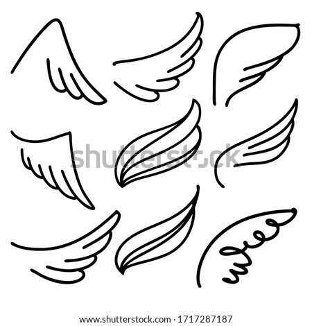 Angel wings icon set sketch, stylized bird wings collection cartoon hand drawn vector illustration sketch #1717287187