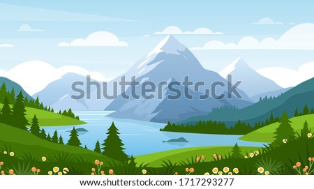 Cartoon flat panorama of spring summer beautiful nature, green grasslands meadow with flowers, forest, scenic blue lake, mountains on horizon background, mountain lake landscape vector illustration #1717293277