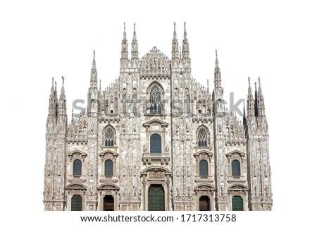 Milan Cathedral (Italian: Duomo di Milano) isolated on white background               Royalty-Free Stock Photo #1717313758