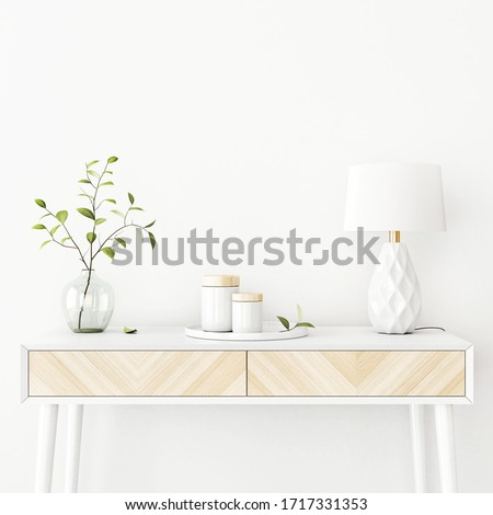 Interior wall mockup with green tree branch in vase, ceramic decore and  lamp standing on the console table on empty white background with free space on top. 3D rendering, illustration.
