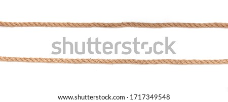 Two parallel ropes, cables, hems isolated on white background, long panoramic picture