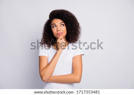 Portrait of her she nice attractive lovely charming pretty curious cheerful cheery wavy-haired girl creating solution isolated over light white pastel color background Royalty-Free Stock Photo #1717353481