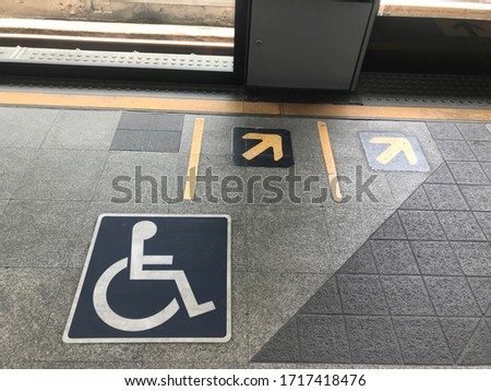 Handicap . Disabled parking , Handicap only,On the electric train