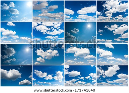 White clouds in blue summer sky background #171741848