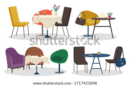 Collection of furniture of cafe or restaurant. Set of isolated tables and chairs. Desks with tablecloth and served coffee. Comfortable armchairs and decorative flowers in pots or vases vector #1717421848