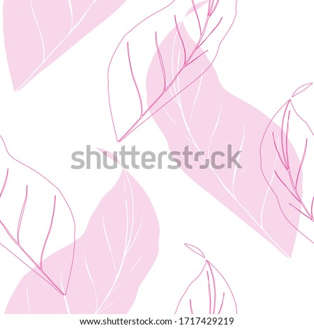 tropical palm leaves pattern, outline leaves seamless #1717429219