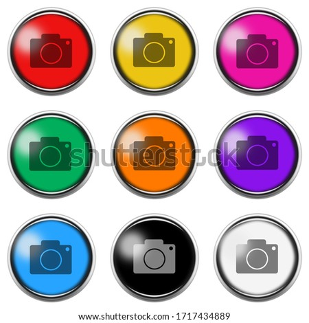 Camera button icon set isolated on white with clipping path