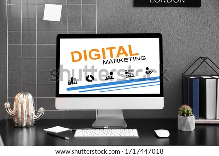 Digital marketing concept. Workplace with modern computer