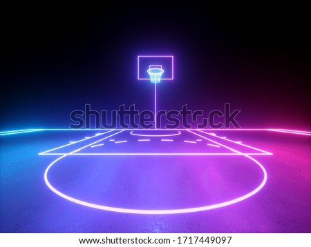 3d render, pink violet blue glowing neon lines, frontal view of the basketball basket, sportive game virtual playground, sport field scheme. Isolated on black background.