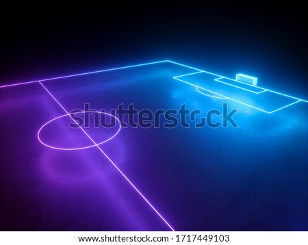 3d render, virtual neon football playground, soccer field gate perspective angle view, sportive game, pink blue glowing line