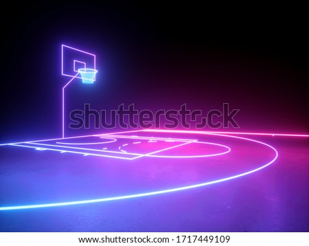 3d render, neon basketball field scheme angle side view, virtual sport playground, sportive game, pink violet blue glowing line. Isolated on black background.