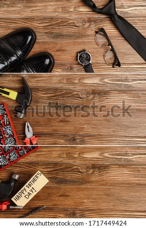 collage of mens accessories, repairing tools and gift card with lettering happy fathers day on wooden background #1717449424