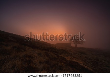 A misty sunrise produces a purple haze as mist rises above top withens, a derelict farmhouse associated with emily brontes novel wuthering heights #1717463251
