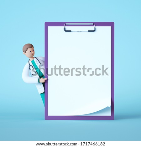3d render. Cartoon doctor character looking out the big clipboard with blank page. Copy space. Clip art isolated on blue background. Professional consultation. Receipt mockup. Medical history concept