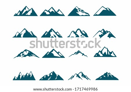 mountain silhouette , set of blue rocky mountain silhouette. bundle vector. #1717469986
