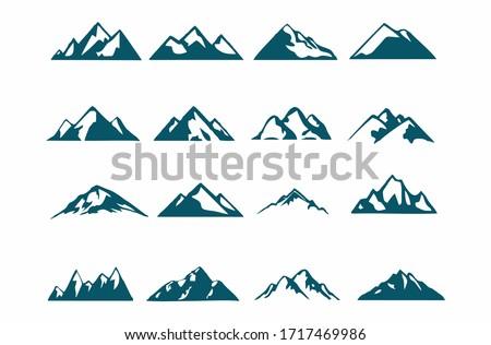 mountain silhouette , set of blue rocky mountain silhouette. bundle vector. Royalty-Free Stock Photo #1717469986