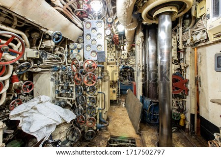 Interior of old abandoned Russian Soviet submarine