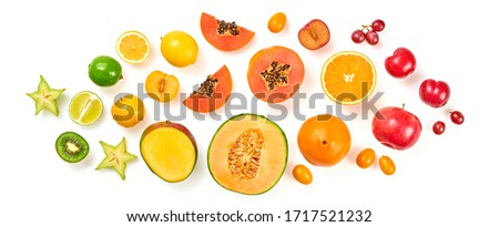 Creative fresh fruits layout. Papaya, apple, orange, kiwi, melon isolated on white background. Fruity diet summer concept. Tropical mix background. Colorful summertime fruit flat lay. #1717521232
