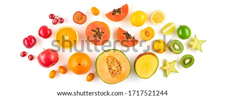 Creative fresh fruits layout. Papaya, apple, orange, kiwi, melon isolated on white background. Fruity diet summer concept. Tropical mix background. Colorful summertime fruit flat lay. #1717521244