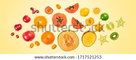 Flying fruits healthy summer color background. Papaya, orange, kiwi, melon. Levitation, falling fly fruit. Tropical creative concept. Colorful fruity summertime vivid design #1717521253