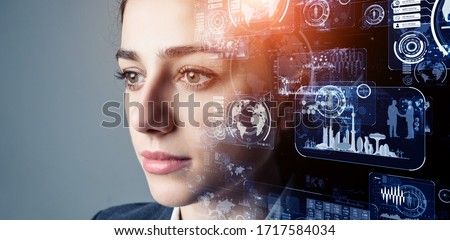 AI (Artificial Intelligence) concept. Deep learning. GUI (Graphical User Interface). #1717584034