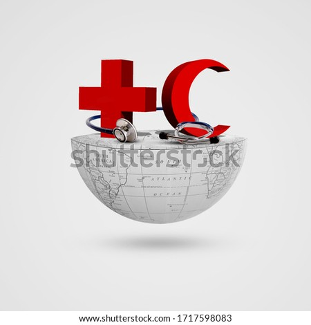 Red Cross, Red Crescent, stethoscope on half earth, World Red Cross and Red Crescent Day, May 8, Cross , Crescent, Royalty-Free Stock Photo #1717598083