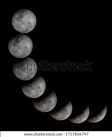 Lunar eclipse , photo collection in one picture by taking the moon on difference time.
