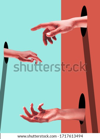 Different. Bright painted human hands touching by fingers. Contemporary art collage. Modern design work in vibrant trendy colors. Stylish and fashionable composition, youth culture. Copyspace. Royalty-Free Stock Photo #1717613494