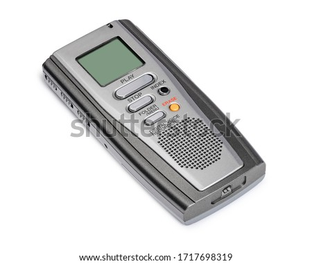 Dictaphone Digital Voice Recording Gadget Dictaphone Portable Audio Digital Voice Recorder Dictation Recording Machine Audio Recorder. Clipping Work Path Included in JPEG. Isolated on White Background