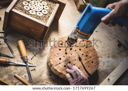 Craftsperson making wooden insect house. Carpenter using drill in workshop. Manual worker doing decorative insect hotel Royalty-Free Stock Photo #1717699267