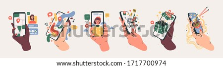 Set of Hands holding smartphones with various images. Communication, social networking concept. Stylized hand drawn Vector illustration for Mobile Application or web sites and banner design Royalty-Free Stock Photo #1717700974