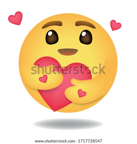 Emoji, Emoticon vector, Round Yellow cartoon hugging heart love design for use in chat, email, massage and comment. #1717728547