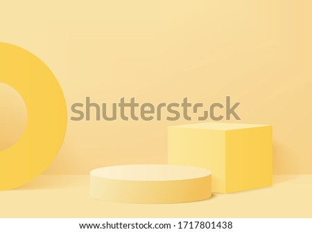 Background studio vector 3d yellow rendering with podium and minimal orange scene, abstract background light 3d rendering geometric stand yellow pastel color. Stage for product on website in modern. #1717801438