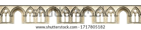 Gothic arches isolated on white background. Elements of architecture, ancient arches, columns, windows and apertures Royalty-Free Stock Photo #1717805182