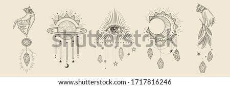 magic signs and symbols. space elements. crystals and stones. retro vintage engraving style. vector trend print #1717816246