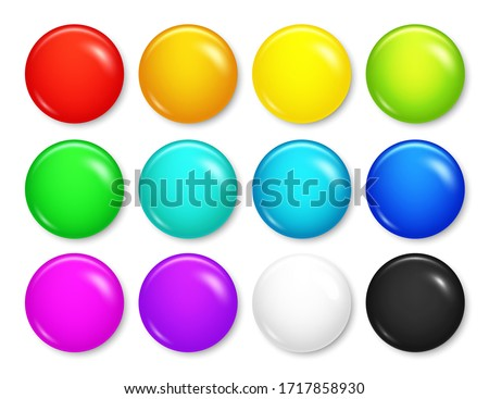 Realistic blank badges collection. Colorful 3D glossy round button. Pin badge mockup. Vector illustration. #1717858930