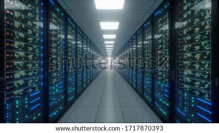 Modern interior server room data center. Connection and cyber network in dark servers. Backup, mining, hosting, mainframe, farm, cloud and computer rack with storage information. 3D rendering #1717870393