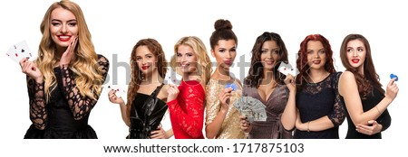 Women with make-up, in luxury dresses and jewelry. Smiling, showing aces, money and blue chips, posing isolated on white. Poker, casino. Collage Royalty-Free Stock Photo #1717875103
