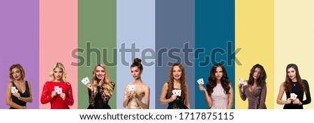 Collage of ladies with make-up and hairstyles, in dresses and jewelry. They smiling and showing aces, posing on colorful backgrounds. Poker, casino Royalty-Free Stock Photo #1717875115