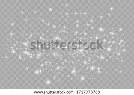 The dust sparks and white stars shine with special light. Vector sparkles on a transparent background. Christmas light effect. Sparkling magical dust particles. #1717978768