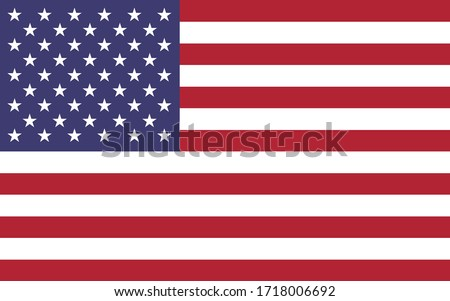 USA flag vector graphic. Rectangle American flag illustration. USA country flag is a symbol of freedom, patriotism and independence.