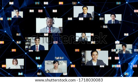 Global communication network concept. Video conference. Telemeeting. Flash news. #1718030083