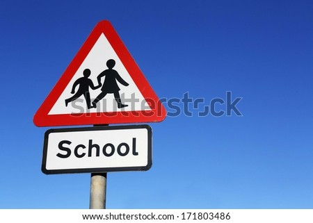 School warning road sign.