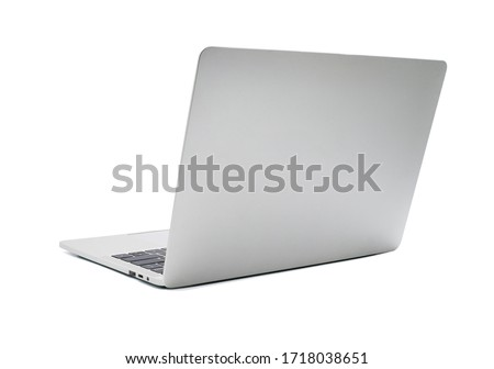 Back view of Open laptop computer. Modern thin edge slim design. mockup and gray metal aluminum material body isolated on white background with clipping path. #1718038651