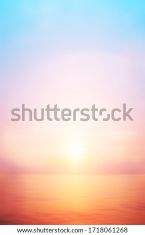 Sunrise cloud sky sea background on horizon tropical sandy beach relaxing outdoors vacation.