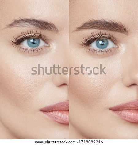 Beauty. Close Up Woman's Eyebrows Before And After Correction. Difference Between Female Face With And Without Permanent Makeup. Royalty-Free Stock Photo #1718089216