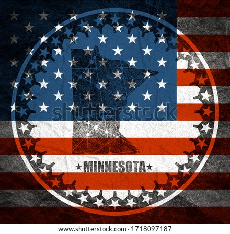 Image relative to USA travel. Minnesota state map textured by lines and dots pattern. Stamp in the shape of a circle. Flag of the USA #1718097187